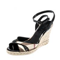 Burberry Black Patent Leather And Novacheck Canvas Espadrille Wedge Sandals Size 37
