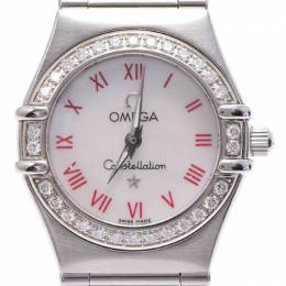 Omega MOP Stainless Steel Diamond Constellation Women's Wristwatch 21MM 154759