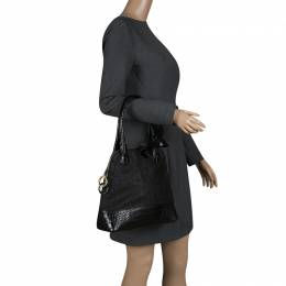 Paule Ka Black Croc Embossed Leather and Woven Straw Bow Satchel 137511