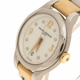 Baume&Mercier White Mother of Pearl Yellow Gold Capped Stainless Steel Women's Wristwatch 30 mm 116853