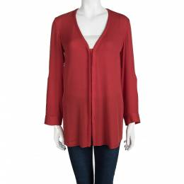 Alice + Olivia Employed Red Button Front Long Sleeve Blouse XS 99360
