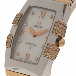 Omega Mother of Pearl Stainless Steel Quadrella Women's Wristwatch 26MM 80658