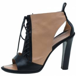 Celine Black and Beige Leather Lace Up Peep Toe Ankle Booties Size 37 48700