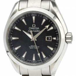 Omega Black Stainless Steel Seamaster Aqua Terra Women's Wristwatch 34MM 165411