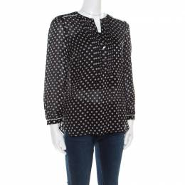 Marc By Marc Jacobs Monochrome Printed Silk Long Sleeve Blouse XS 180584