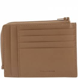 Piquadro Light Brown Leather Credit Card Holder 181634