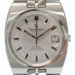 Omega Silver Stainless Steel Constellation Vintage Men's Wristwatch 35MM 184454