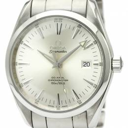 Omega Silver Stainless Steel Seamaster Men's Wristwatch 39MM 184404