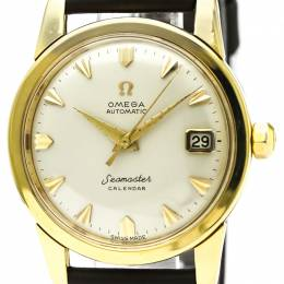 Omega Silver 18K Yellow Gold Seamaster Vintage Men's Wristwatch 34MM 184428