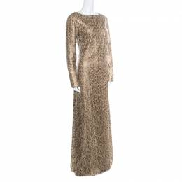 Tadashi Shoji Gold Laser Cut Embroidered Leatherette Long Sleeve Boat Neck Gown M 185738
