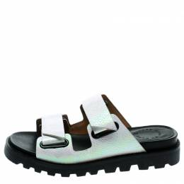 Marc By Marc Jacobs White Holograph Textured Leather Street Stomp Flat Slides Size 36.5 182038