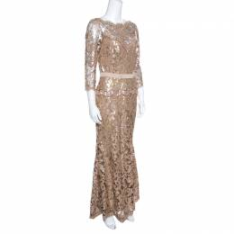 Tadashi Shoji Pink and Black Lace Sequined Long Sleeve Boat Neck Gown S 157341