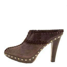 Sergio Rossi Brown Suede Stud Trim Wooden Platform Pointed Toe Mules Size 40 150569