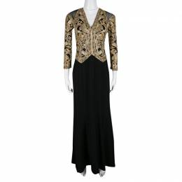 Tadashi Shoji Black and Gold Cord Embroidered Long Sleeve Trompe L'oeil Gown XS 139980