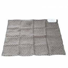 Brunello Cucinelli Brown Circle and Dot Print Textured Silk Pocket Square 169961