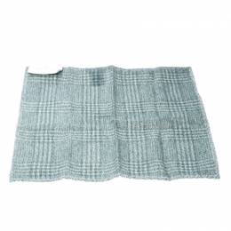 Brunello Cucinelli Green Wool and Silk Flannel Plaid Checked Pocket Square 169344