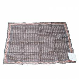Brunello Cucinelli Grey Dot and Houndstooth Print Reversible Silk Pocket Square 169341