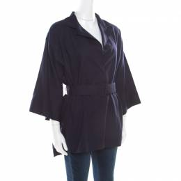The Row Navy Blue Cotton Poplin Belted Hona Plunge Neck Blouse M 172595