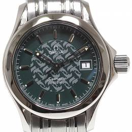Omega Green Stainless Steel Seamaster Women's Wristwatch 26MM 184430
