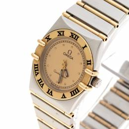 Omega Gold Dial 18K Yellow Gold and Stainless Steel Constellation 795.1080.1 Women's Wristwatch 22 mm 155591
