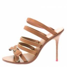 Sophia Webster Brown Leather Samara Bow Strappy Mules Size 36.5 183924