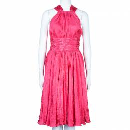 Oscar De La Renta Azalea Pink Crushed Silk Dress L 47917