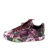 Dolce And Gabbana Multicolor Floral Print Leather Sneakers Size 36