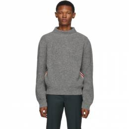 Thom Browne Grey Stripe Relaxed Fit Boat Neck Sweater 192381M20101502GB