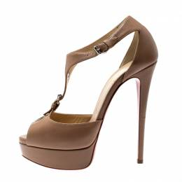 Christian Louboutin Beige Leather Buckle T-strap Peep Toe Platform Sandals Size 37.5