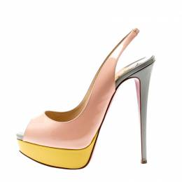Christian Louboutin Multicolor Patent Leather Lady Peep Toe Platform Slingback Sandals Size 38