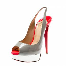 Christian Louboutin Tricolor Patent Leather Lady Peep Toe Platform Slingback Sandals Size 38