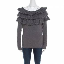 Escada Grey Wool and Mohair Ruffled Bodice Detail Long Sleeve Sweater L 201522