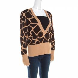 Escada Beige and Brown Giraffe Pattern Wool and Silk Knit Plunge V Neck Sweater L 201535