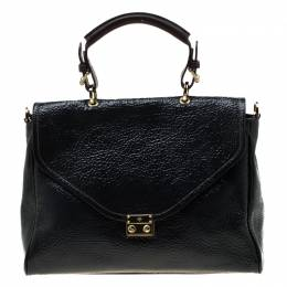 Mulberry Black Patent Leather Neely Top Handle Bag