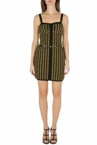 M Missoni Yellow and Black Jacquard Dobby Knit Belted Bodycon Dress M 201652