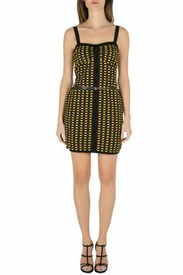 M Missoni Yellow and Black Jacquard Dobby Knit Belted Bodycon Dress M