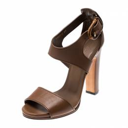 Gucci Brown Leather Bamboo Buckle Ankle Strap Sandals Size 39