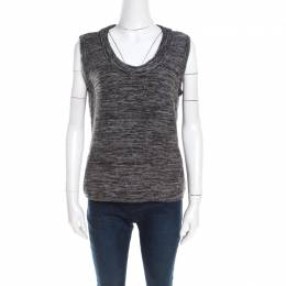 Escada Marled Grey Wool Blend Sleeveless Scoop Neck Sweater Top L 201454