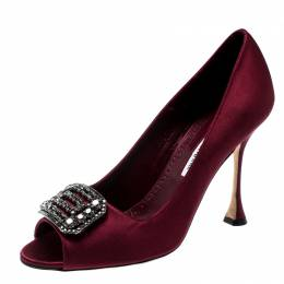 Manolo Blahnik Burgundy Satin Matik Crystal Embellished Peep Toe Pumps Size 38.5 200158
