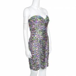 Matthew Williamson Multicolor Printed Jersey Ruched Twist Front Strapless Dress M