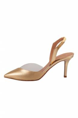 Aquazzura Metallic Gold Textured Leather And PVC Coco Slingback Sandals Size 38
