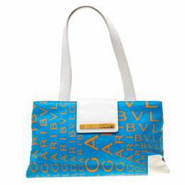 Bvlgari Blue/White Logo Mania Fabric and Leather Shoulder Bag 200356