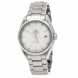 Omega Silver Stainless Steel Seamaster Aqua Terra Men's Wristwatch 38 mm 204617