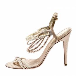 Sergio Rossi Beige Fabric And Pearl Strap Sandals Size 39