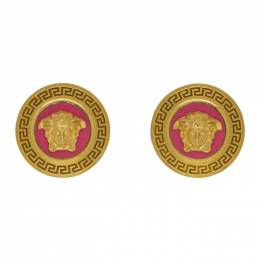 Versace Pink and Gold Small Medusa Coin Earrings 192404F02200501GB