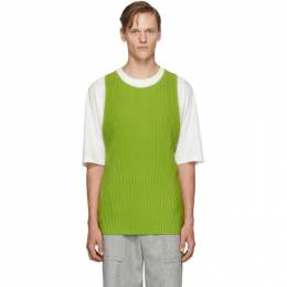 Homme Plisse Issey Miyake Green Pleated Apron Vest 192729M18500101GB