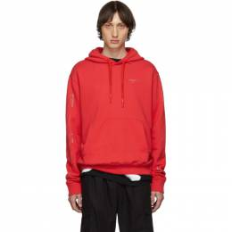 Off-White SSENSE Exclusive Red Unfinished Diag Hoodie