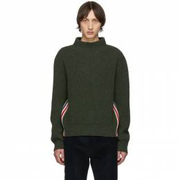Thom Browne Green Stripe Relaxed Fit Boat Neck Sweater 192381M20101706GB