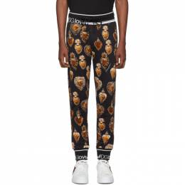 Dolce&Gabbana Black and Gold Heart Crest Lounge Pants 192003M19000107GB