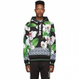 Dolce and Gabbana Black and Multicolor Orchid Print Hoodie